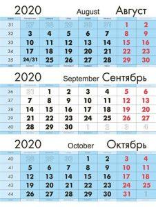 календарная сетка голубая